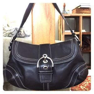 💕 Coach medium brown leather hobo bag nice 💕